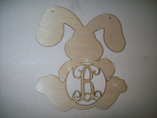 Unfinished Wood Easter Sitting Bunny Vine Monogram in 44cm Tall