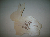 Unfinished Wood Easter Bunny Engraved Monogram in 44cm Tall