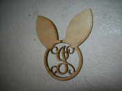 Unfinished Wood Easter Bunny Ears Vine Monogram in 44cm Tall