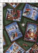 "David Textiles Susan Wheeler ""Christmas Day"" Green Postcards Holiday Fabric"