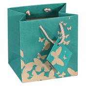 10 pcs Small Green Kraft Shopping Paper Gift Sales Tote Bags with White Butterfly Print 10cm x 7cm x 11cm