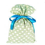Green Geometric Reusable Fabric Gift Bag Standard 25cm By 38cm