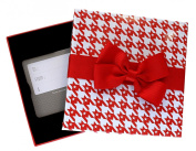 White & Red Herringbone Star Pattern Gift Card Box Holder with Red Ribbon