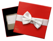 Give-A-Gift Red Gift Card Box Holder with White Satin Ribbon