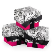 Fuchsia Filigree Ribbon Favour Boxes