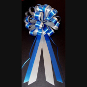 Royal Blue & Silver Striped Wedding Pull Bows with Tails for Church Pews and Chairs - 20cm Wide, Set of 6