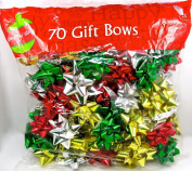 Christmas Designer Gift Bows,70x Assorted,peel & Stick