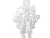WHITE High Gloss Curly Bows12 Strands