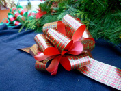 Christmas Gift Wrap Pull Bows - 13cm Wide, Set of 6, Red Green Tartan