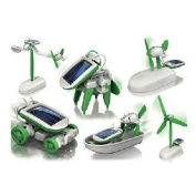Cool DIY 6 in 1 Solar Educational Kit Toy Boat Fan Car Robot Power Moving Dog for All Ages