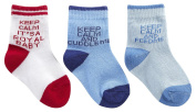 BABYTOWN Babies Boys Cotton Rich Novelty Socks Multi Pack Keep Calm Printed