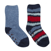 TICK TOCK Baby Boys Socks 2 PAIRS Cosy Stripy With Grippers Warm