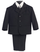 5 Piece Black Suit with Shirt, Vest, and Tie - Size XL (18 Month) Size