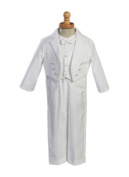 Boy's White Cotton Tuxedo with Pique Vest - Size S (3-6 Month) Size