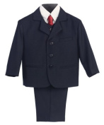 5 Piece Navy Blue Suit with Shirt, Vest, and Tie - Size 12 Size