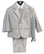 Boy's 2-Button Metallic Suit with Vest and 2 Ties - Silver 7 Colour