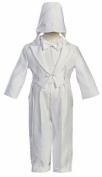 White Round Tail Satin 5 Piece Tuxedo with an Embroidered Cross and Hat - L (9-12 Month) Size