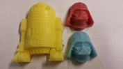 1x Robot & 2x Darth heads shaped MINI soaps