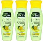 THREE PACKS of Dabur Vatika Lemon Anti Dandruff Shampoo 200ml