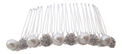 Pick A Gem Bridal Hair Accessories Silver Diamante Crystal and Pearl Encrusted Wedding Hair Comb