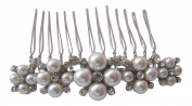 Pick A Gem Hair Accessories Silver Diamante Crystal and Pearl Encrusted Wedding Hair Comb