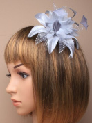 FASCINATOR LARGE Silver Grey FLOWER FEATHER COMB WEDDINGS Races Prom