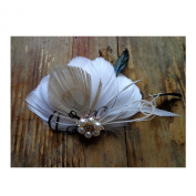 Jelinda Vintage Women Feather Pearl Bridal Wedding Party Hair Clip Hair Accessory