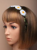 White Daisy Flower Garland Ribbon Wound Metal Alice Band