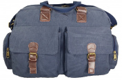 Large 30L Canvas and Leather holdall tote bag Navy laptop bag mens cabin bag