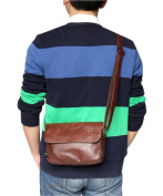 Men's Fashion Carry On Travel Messenger College PU Leather Crossbody Casual Bag