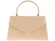 Womens Faux Leather Patent Envelope Small Hardcase Ladies Bridal Party Prom Evening Clutch Handbag