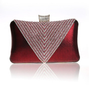 Luxurious Shimmering Women Diamante Ring Rhinestone Clutch Burgundy Wedding Purse Evening bag