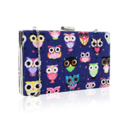 Owl Print Hard Clutch Bag, Shoulder Bag, Evening Bag - Blue