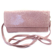 Leather pouch bag 'Frandi'old pink (2 bellows)leopard.