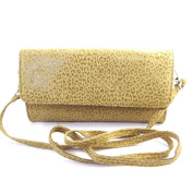 Leather pouch bag 'Frandi'camel (2 bellows)leopard.