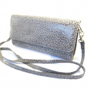 Leather pouch bag 'Frandi'graphite grey (2 bellows)leopard.