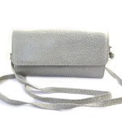 Leather pouch bag 'Frandi'mouse grey (2 bellows)leopard.