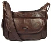 Dark Brown Genuine Real Leather Ladies Medium Handbag Long Strap, Cross the Body, Messenger Bag.
