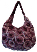 Circle Silk Shoulder Bag - Wine , Red & Silver - Silk / Satin FREE P & P