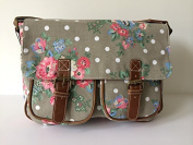 Ladies Grey Canvas Satchel , Girls Polka Dot Floral Shoulder Bag, Pink Blue Flowers Handbag