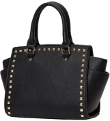 Kukubird Trapezium Metal Stud Faux Leather Classic Tote Large Handbag