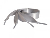 Pimp My Shoes Silver Grey Coloured Satin Ribbon Shoelaces For Trainers, Canvas Pumps, shoes, sneakers, running shoes, sports shoes, boots, hi tops, dr martin boots