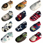 Soft Leather Baby Boy Shoes with Suede Soles by Dotty Fish - Cream & Brown Lion - 0-6 Months