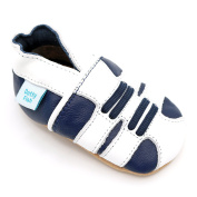 Soft Leather Baby boy Shoes with Suede Soles by Dotty Fish - Navy and White Star design