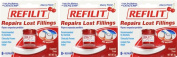 Dentemp Refilit Cherry Filling Material 8+ Repairs x 3 Packs