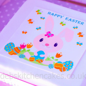 """Easter Cake Topper Easter Bunny 7.5"""" (19cm) Square Edible Wafer or Edible Icing (Edible Icing)"""