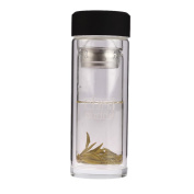 280ml (10 oz) CHAI BUDDY Thermo Double-Walled Glass Travel Tea Infuser Water Bottle Clear Thermos Flask, Perfect for drinking loose leaf teas, Ice Tea, Coffee or infusing flavour into water