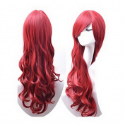 Women's ladies dark Red long Fashion Natural Full Curl Wig Cosplay wigs