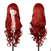 "COSPLAZA Cosplay Costume Wigs 32"" 80cm Dark Red Long Big Wavy Hair Heat Resistant Spiral Curly + Free Wig Cap"