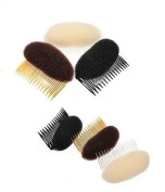 Brown--Hair Bump/Bun Shaper with adjustable comb with beehive LOOK